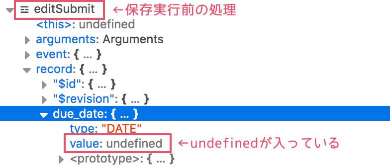 保存実行前「undefined」