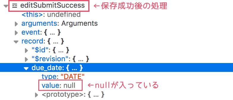 保存成功後「null」
