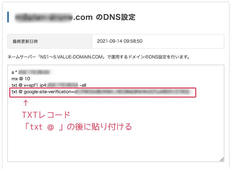 バリュードメイン DNSの設定 TXTレコード